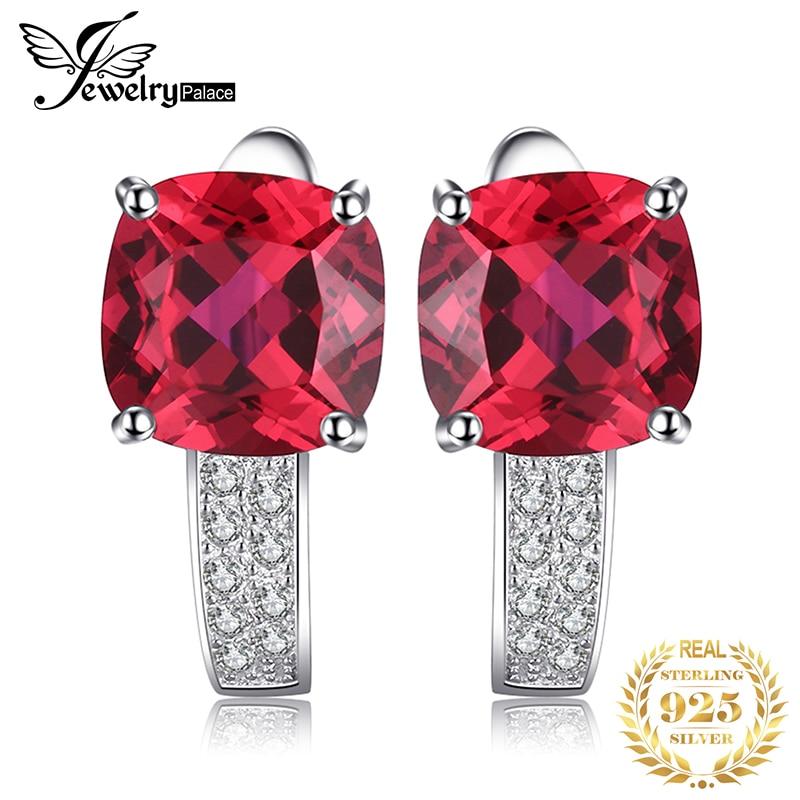 JewelryPalace Cushion Created Ruby Hoop Earrings 925 Sterling Silver Earrings For Women Gemstones Korean Earings Fashion Jewelry