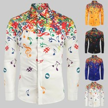 Dropshipping 20 Camisa de los hombres Novelty Blouse 2019 Men Casual Musical Note Pattern Casual Long Sleeves Artistic Shirt Top