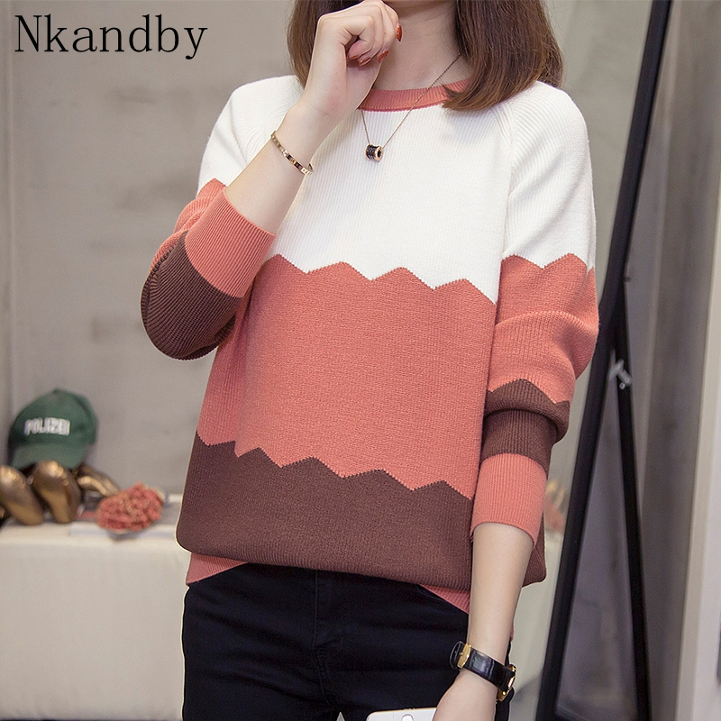 Plus Size Wave Striped Knitted Pullover Woman Raglan Sleeve Sweaters 2019 Autumn Winter Loose Lady Top Oversize Knitwear Jumpers