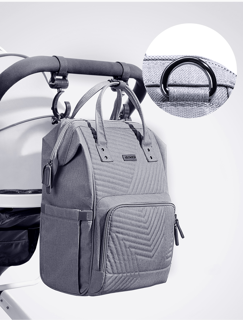 H253f6a17e8ef4ac7abd47f9b3a43675e1 Sunveno Fashion Diaper Bag Backpack Quilted Large Mum Maternity Nursing Bag Travel Backpack Stroller Baby Bag Nappy Baby Care