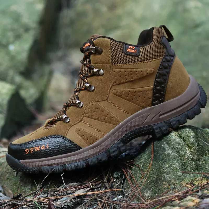 Açık su geçirmez erkek ayakkabısı kış erkek ayakkabı rahat yüksek üst botlar erkek spor kaymaz yürüyüş botları sonbahar boyutu 36- 48