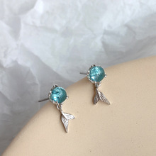 925 Sterling Silver Piercing Crystal Mermaid Stud Earrings for Women Girls Wedding Party Gift Femme
