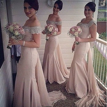 Customized Long Appliqued Cap Sleeve Chiffon Mermaid Royal Blue Peach Bridesmaid Dresses With Detachable Tail Mblb5 - discount item  12% OFF Wedding Party Dress