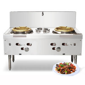 Stove Wok Burner Multifunction-Cooker Commercial Cooking Range 2-Cooktop Gas with Fan