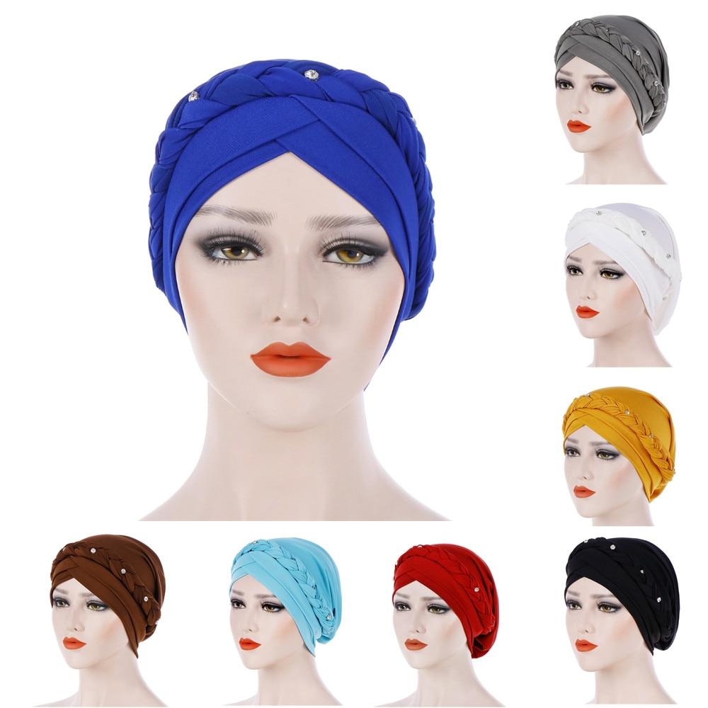 Braid Islamic Prayer Hats Scarves Wraps Hijab Caps Women Muslim Cap Islamic Hijab  Turban