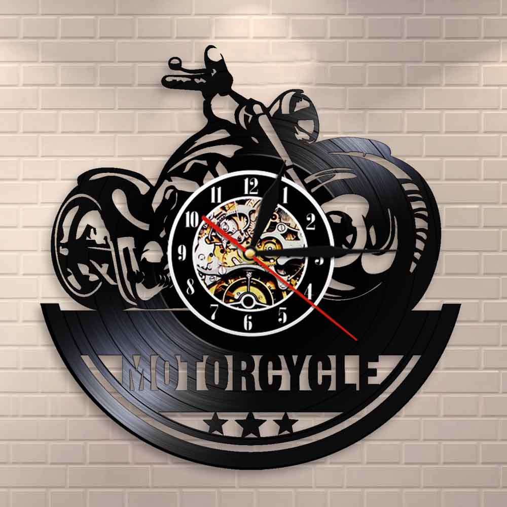 American Classic Motorcycle Wall Art Wall Clock Garage Sign Motorbike Vintage Vinyl Record Wall Clock Man Cave Decor Bikers Gift