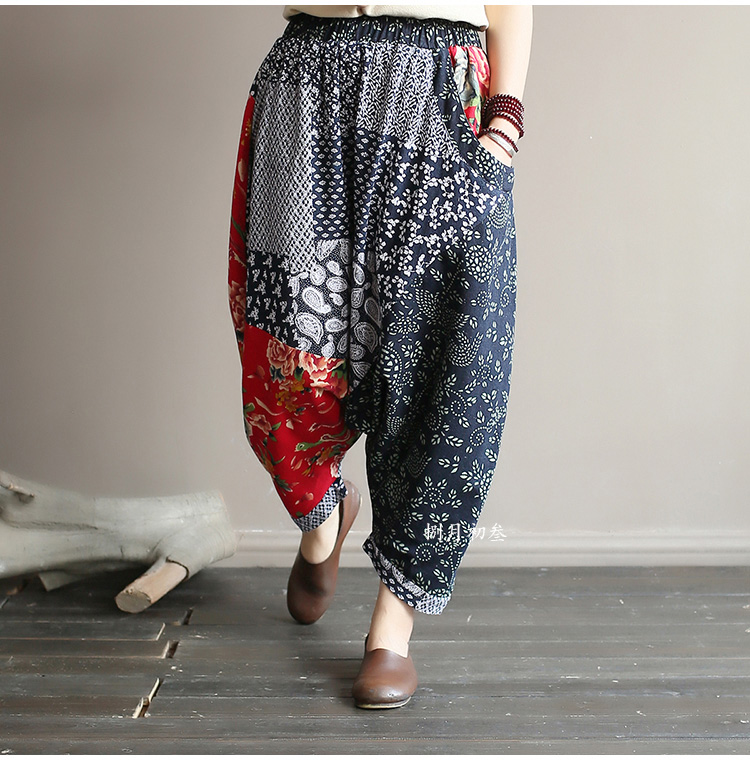 Original folk style women's retro stitching old cotton and linen material shift pants women loose large size baggy pants 40