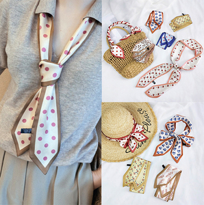 2020 Small Silk Scarf Satin Print Handle Bag Ribbon Hair Neck Scarves Long Office Hotel Waiter Flight Attendants Handkerchief