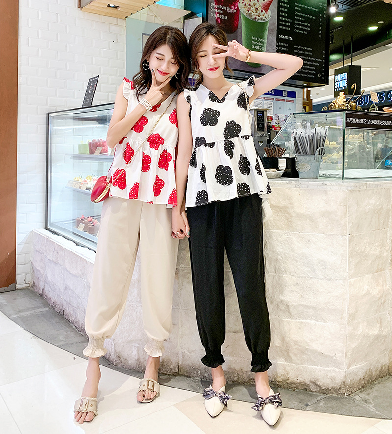 WOMEN'S Suit 2019 New Style Online Celebrity Elegant GIRL'S Shirt Pants Short-height Two-Piece Set Western Style By Age Trousers