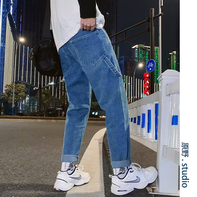 Jeans Men's Popular Brand Loose-Fit Workwear Straight-Cut Korean-style Trend Pendant Sense Loose Pants Students Hong Kong Style