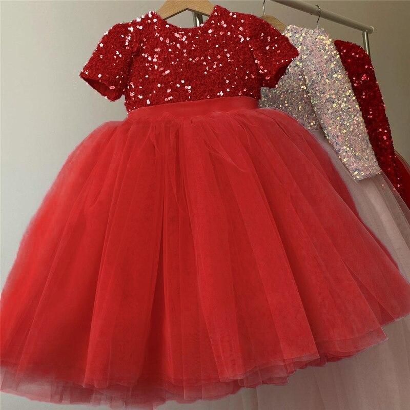 Летнее платье для девочек, вечернее платье принцессы на день рождения, детская одежда, детское платье с блестками, Тюлевое платье-пачка с цв...