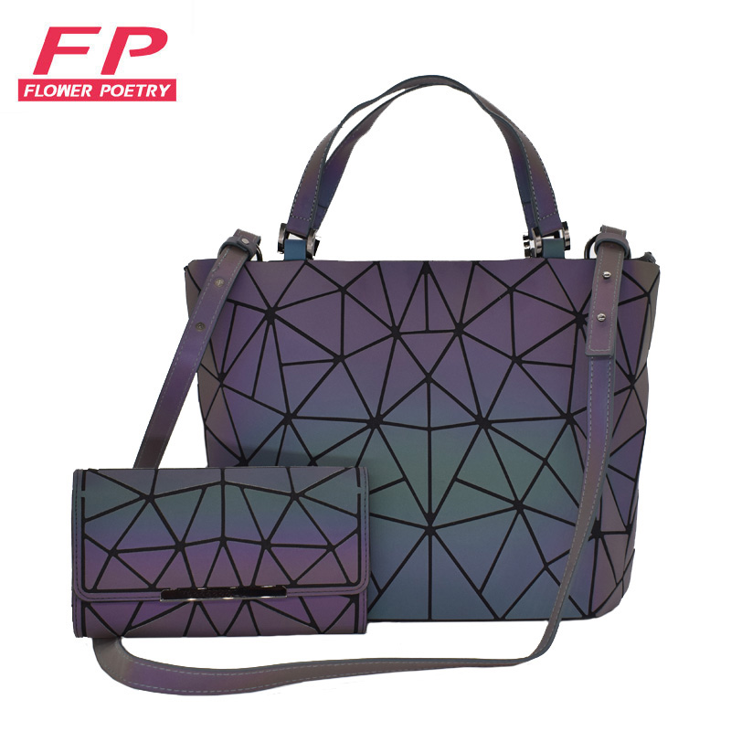 Women Handbag Luxury Shoulder Bag Set Folding Totes Crossbody Bag Female Purse And Wallet Ladies Luminous Geometric Bucket Bag