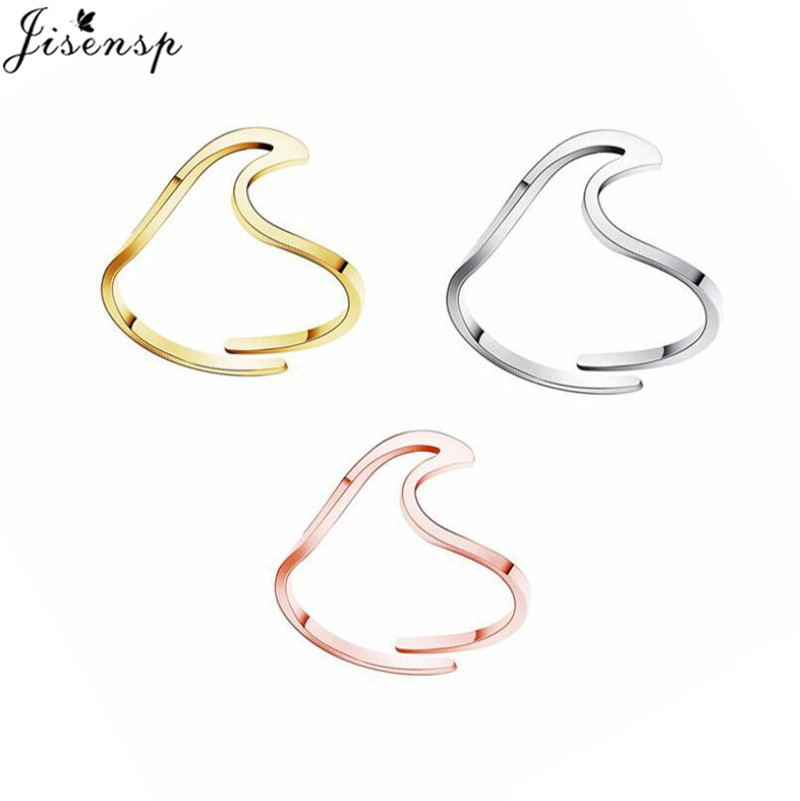 Jisensp простые волнистые кольца из нержавеющей стали для женщин Anel минималистичные ювелирные изделия Океанский пляж регулируемое кольцо опт...