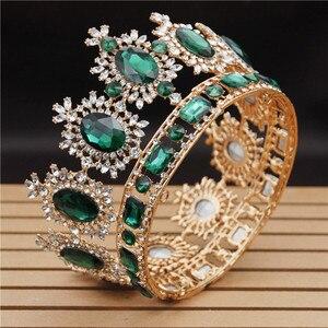 Image 4 - Vintage düğün taç büyük kristal Tiaras ve taçlar kraliçe gelin Headdress Pageant saç takı aksesuarları