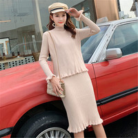 Autumn Runway High Quality Women Knitted Sweater 2 Two Piece Women Knitted Waistcoat Pullover + Long Sleeved Split Dress Outfits