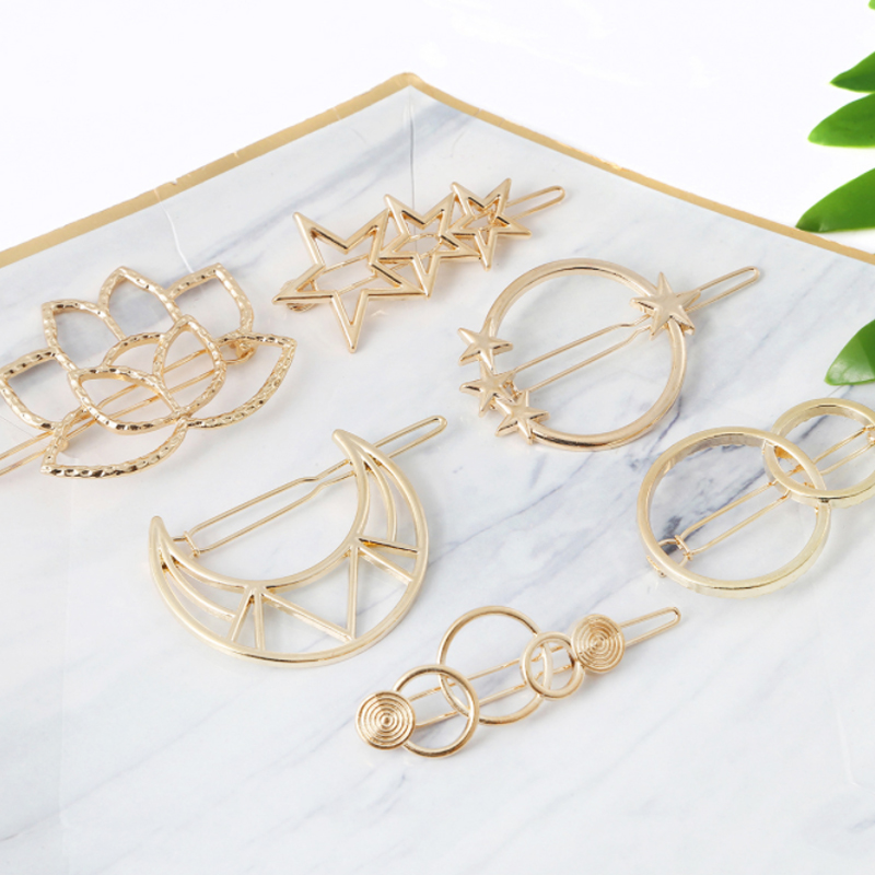 1PCS Moon/Geometric Alloy Women Hair Clips Summer Hair Accessories Styling Tools Barrettes Headwear Hairpins