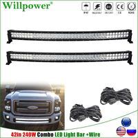 2pcs Off Road 4WD 4x4 Lower Bumper 240W 42 Curved LED Work Light Bar SUV Truck Pickup 40 inch Dual LED Light Bar Driving Lamp