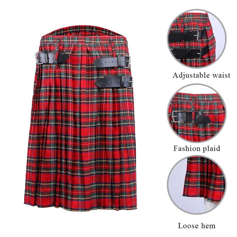 DIHOPE 2020New Scottish Men Kilt Traditional Plaid Belt Pleated Chain Bilateral Brown Gothic Punk Scottish Plaid Pants Skirts