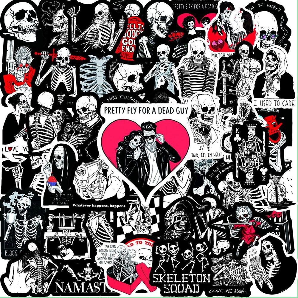 10/30/50 pçs vermelho e preto crânio amor motivacional adesivos portátil guitarra bagagem bicicleta à prova dwaterproof água graffiti adesivo decalque criança brinquedos