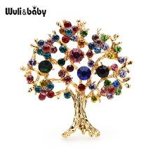 Wuli&baby Multicolor Rhinestone Tree Brooches Women Men Christmas Tree Party Office Casual Brooch Pins Gifts