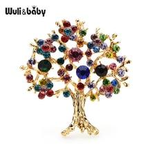 Brooch Pins Gifts Tree Rhinestone Christmas-Tree Office Multicolor Baby Wuli Women