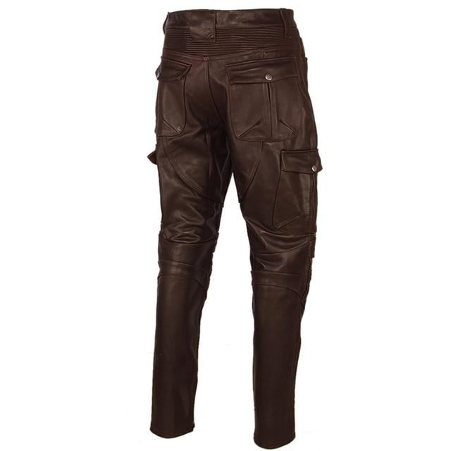 Motorcycle Leather Trousers Men Leather Pant Thick 100% Cowhide Vintage Grey Brown Black Men's Moto Biker Pants Winter 4XL M216 4