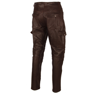 Image 4 - Motosiklet deri pantolon erkek deri pantolon kalın 100% inek derisi Vintage gri kahverengi siyah erkek Moto Biker pantolon kış 4XL m216