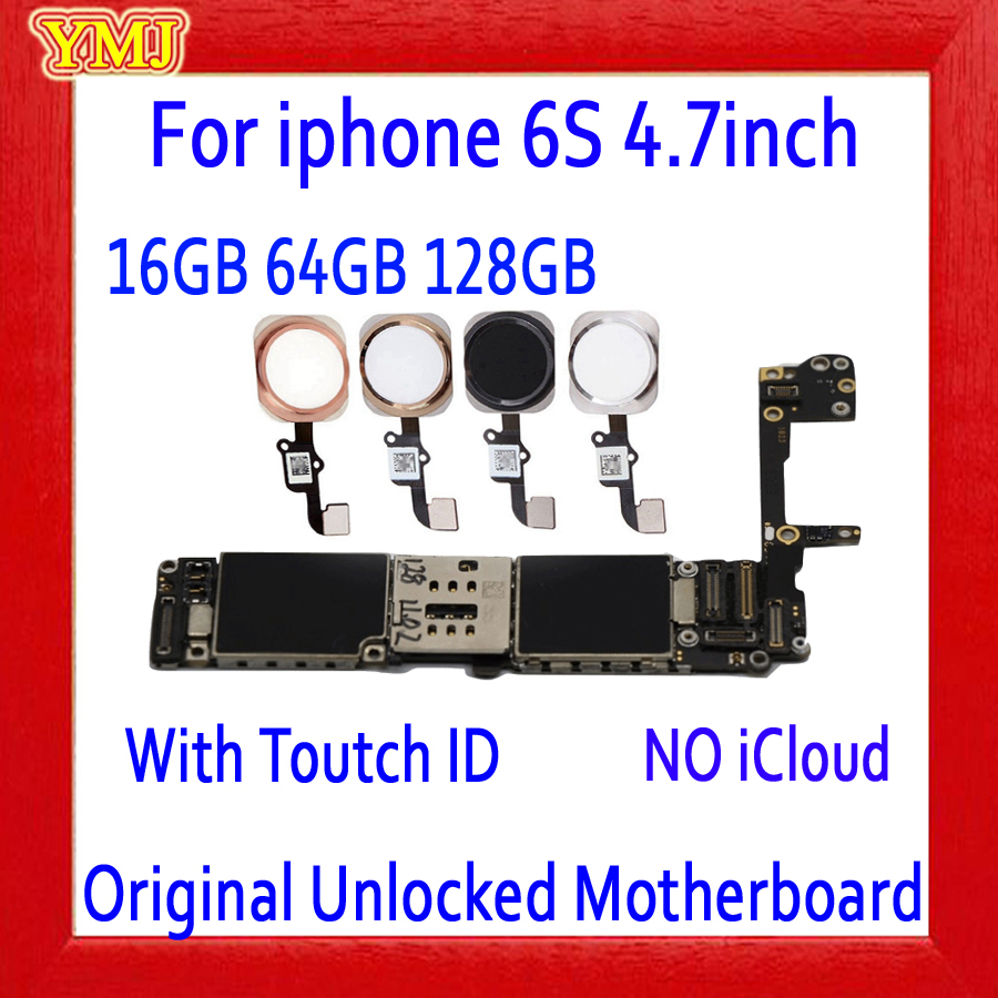 Full unlocked for iphone 6S 6 S Motherboard With/Without Touch ID Original for iphone 6S Mainboard with Full Chips 16GB 64G 128G|Mobile Phone Antenna| |  - title=