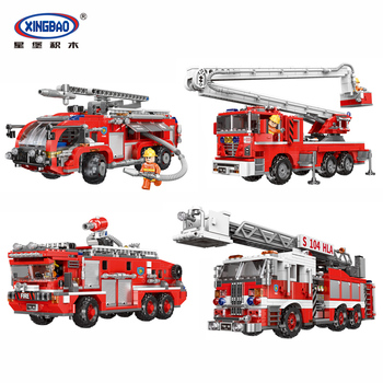 Technic Xingbao Lepins City Fire Truck series The Rescue Vehicle Sets Model Kit Building Blocks Bricks Firefighter Kids Toys DIY enlighten blocks fire rescue series block sea rescue teams diy building block 404pcs assembly bricks playmobil toys for children