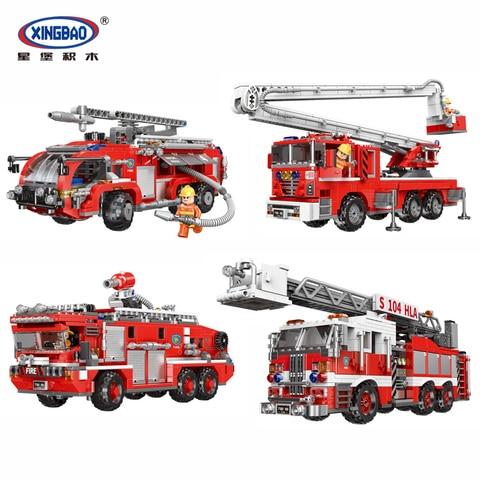 tecnica xingbao lepins cidade caminhao de bombeiros serie o veiculo de resgate conjuntos modelo kit