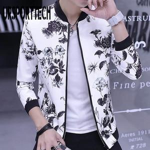 URSPORTTECH Printed Men Jackets Spring Bomber Jackets Male Streetwear Coats Men's Zipper Jacket Casual Streetwear Slim Fit Coat