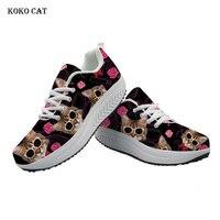 Koko cat Women sneakers Cool Cat Head Printing Women Casual Shoes Platform Tenis Feminino Wedge Sneakers Trainers Women Mesh
