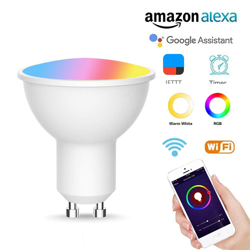 GU10 WiFi Smart Light Bulb RGB+CW Compatible With Amazon Alexa Echo Google Home App Smart Life Automatic Home Light Lamp