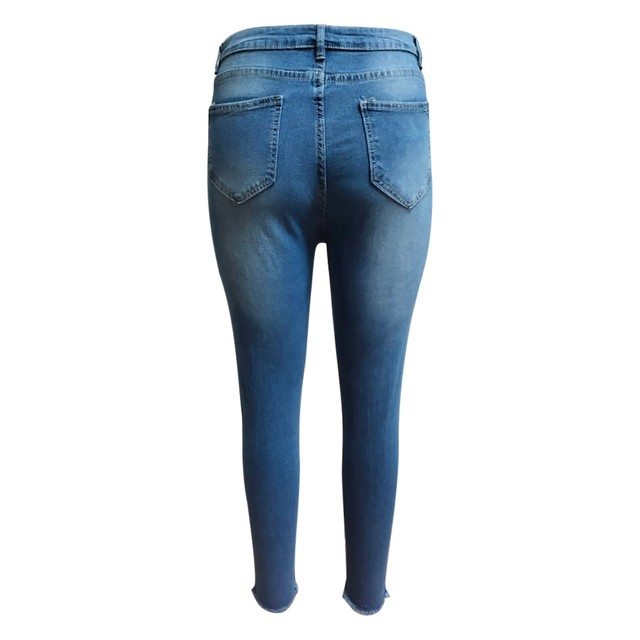 Luz Azul Jeans rasgados para damas 2021 calle estilo Sexy low Rise Distressed Pantalón Stretch Skinny agujero pantalones de Vaqueros pitillo 5