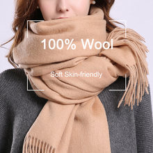 100% натуральный шерстяной шарф для женщин верблюжьи Теплые