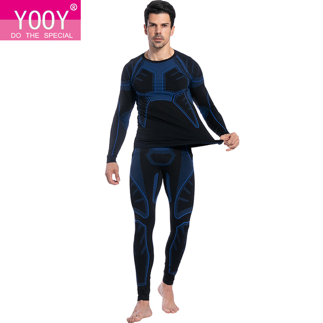 YOOY Mens Thermal Underwear Sets Men Long Johns Autumn Winter Shirt+Pants Men Tops Compression Quick Dry thermo clothing