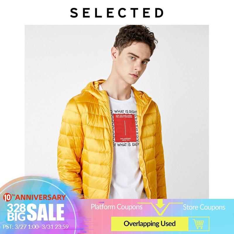 SELECTED Men's Light-weight Winter Outwear Detachable Hood Duck Down Jacket Coat S 419312505