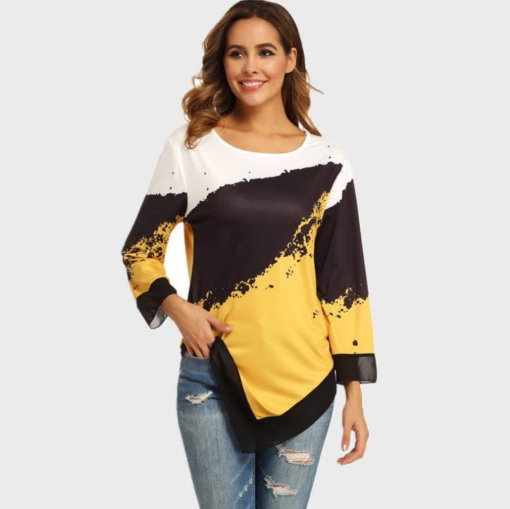 Shirt Blouse Women Plus Size 5XL Fashion New Spring Print Tops 3/4 Sleeve Elasticity Splice Female Shirt Casual