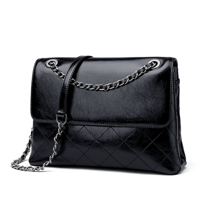 ZOOLER Brand Limited Elegant Black Cow Leather Shoulder Bags Ladies Crossbody Bag Luxury Chains Messenger Bags Girls#LT329