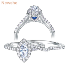 Newshe 2 Pieces 925 Sterling Silver Wedding Engagement Ring