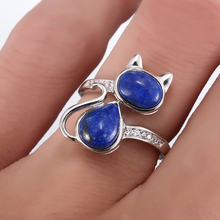 AMORUI Lapis Lazuli Natural Stone Women Rings 925 Sterling Silver Cute/Romantic