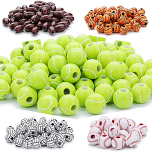 50pcs/lot 12mm Acrylic Beads Basketball Tennis Rugby Volleyb