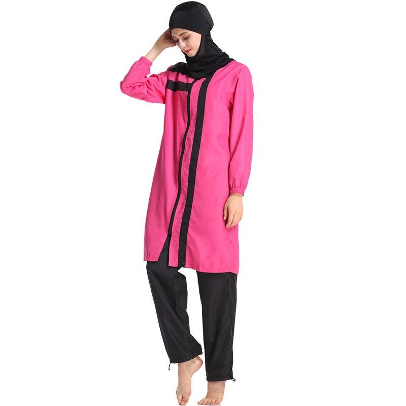 Image 5 - HAOFAN New 2019 summer stitching style Burkinis muslim swimwear  hijab Conservative Muslimah Swimsuit Beach Swimming Islamic 3XLMuslim  Swimwear