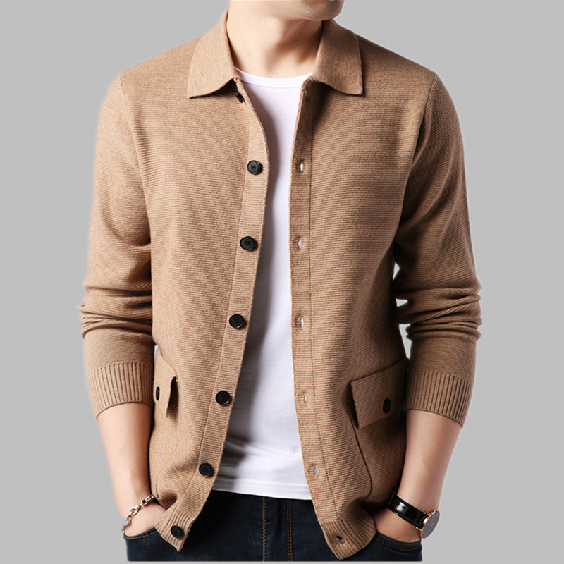 New Mens Knitted Sweatercoat Wool Blends Jacket Casual Sweater Single Breasted U15 Mens Cardigan Sweater