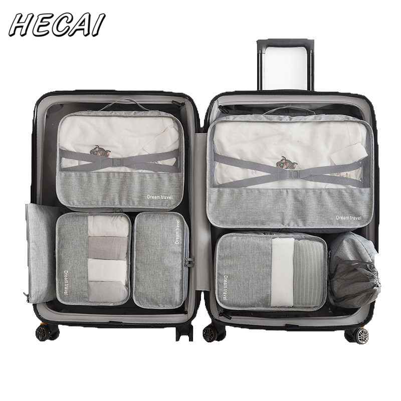 Solid Color 7 PCS/Set High Quality Oxford Cloth Travel Mesh Bag Hand Luggage Travel Bag Packing Cube Organiser For Clothing