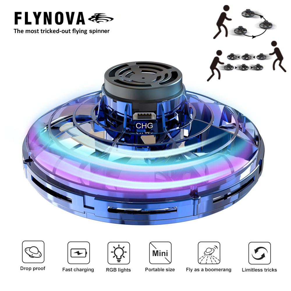 Flynova Adults Child Flying Toys Athletic Antistress Flying Drone Toy Flying UFO Led Finger Spinner Toy Newyear Gift