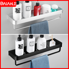 Bathroom Shelf Black Space Aluminum Bathroom Shelves Shampoo Holder Shower Caddy Rack Wall Corner Kitchen Storage Rack Towel Bar цена и фото