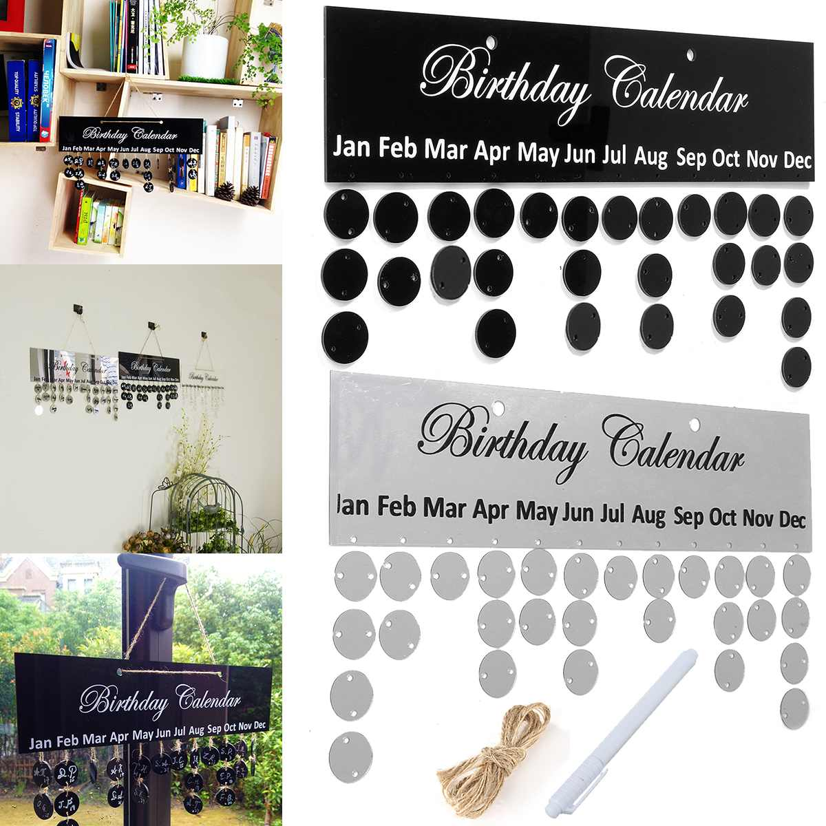 Kicute 1pc Silver Black Birthday Calendar Board DIY Family Birthday Calendar Sign Special Dates Planner Board Hanging Decor Gift
