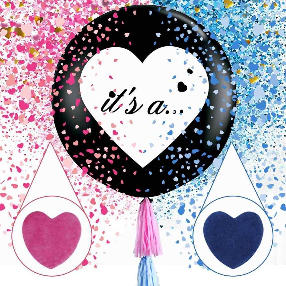 36 Cal płeć ujawnia duża czarno balony z konfetti w kształcie serca opakowania zaopatrzenie firm dla chłopca/dziewczynki dekoracja baby shower Kit