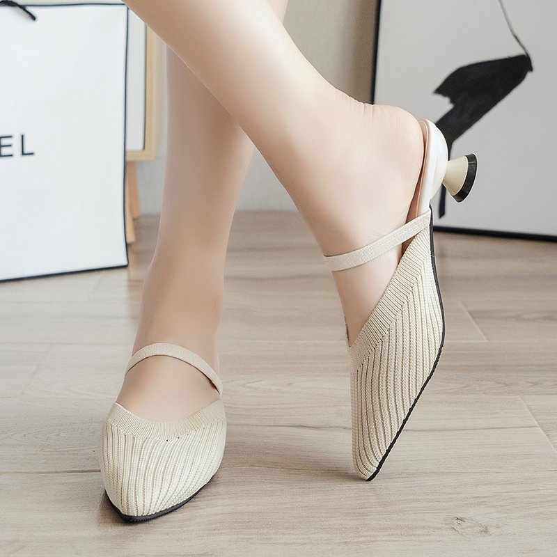 Pointed Mid Heels Slippers Women Summer Shoes Sexy Sandals Knitted Elastic Mesh Slingback Breathable Mules Shallow Slides Shoes 4